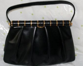 Prestige Black Leather Pleated Handbag