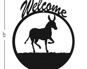 Donkey Mule Burro Black Metal Welcome Sign