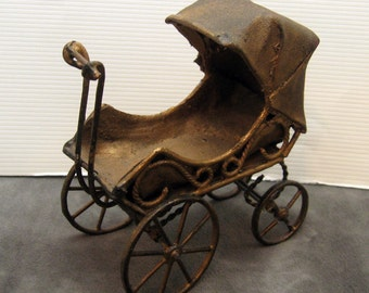 Antique Baby Carriage Stroller Miniature Toy Buggy