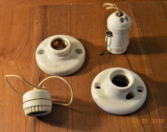 4 Porcelain light Fixtures  Leviton,P S, UL,Architectural Salvage Supplies, Pull Chain ,Classic Home & Living,Ceramic