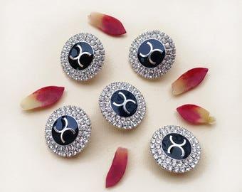 Vintage rhinestones buttons set of 5 / designer logoed CC jeweled buttons / blazer logo buttons / jacket shank button / dress shirt buttons