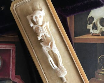 Antique Memento Mori Vanitas Carved Skull Skeleton in Ivory Velvet and Silk Coffin Box for Cabinet of Curiosities Wunderkammer