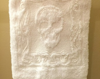 Skull Hand Towels set of 2 - embossed machine embroidered plush hand towels measuring 16x30, Halloween, Day of the Dead, Sugar Skull