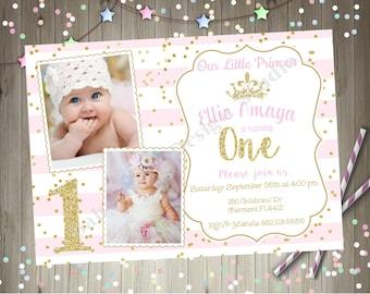 Princess 1st Birthday Party Invitation invite Pink and Gold Princess Birthday Party Printable invitation invite Photo Picture