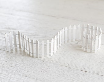 Fairy Garden Fence - Miniature White Picket Fence, 2 inch x 18 inches