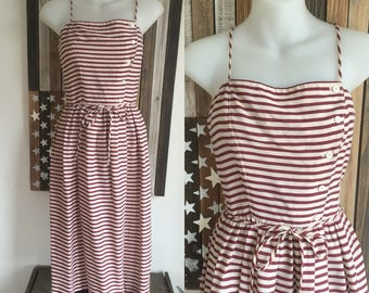VINTAGE 70s Striped Dress XS Small Boho . Summer High Waisted Sundress Nautical Belted Sleeveless Sun Button Up Midi Length Extra Small