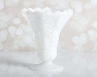 Beautiful Fluted Milk Glass Vase