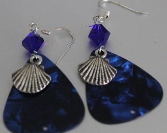Fun Handmade Blue Glass Bead Blue Guitar Pick and Silver Seashell Charm Dangle Earrings