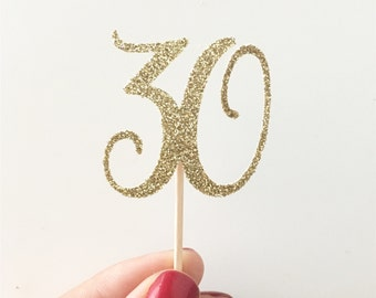 """Glitter Birthday """"30"""" Age Toppers, 30th birthday, Dirty 30 birthday, Happy 30th, Thirsty 30, thirty cupcake, 30 Cupcake Toppers, Gold 30"""
