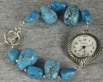 Handmade Watch Tumbled Turquoise Bead Look