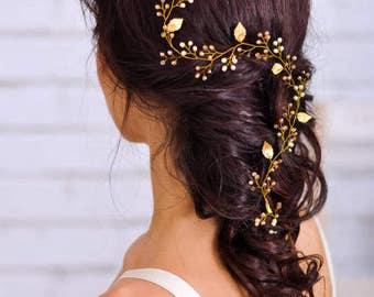 Bridal hair vine Bridal hair piece Wedding hair vine Wedding headpiece Long hair vine Grecian gold leaf Crystal hair vine Gold hair vine