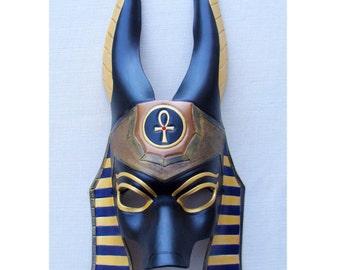 Made to Order: Egyptian Jackal Anubis Leather Mask - Underworld Masquerade Costume