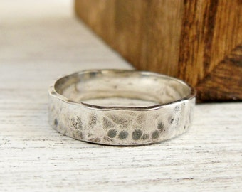4mm Hammered Ring, Sterling Silver Textured Band, Wedding Band, Stacking Ring