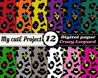 Digital Paper: Leopard | Wild Animal Print Bright colors | Scrapbooking & graphics | 12x12 - A4 | Leopard Print | Animal print papers SAFARI