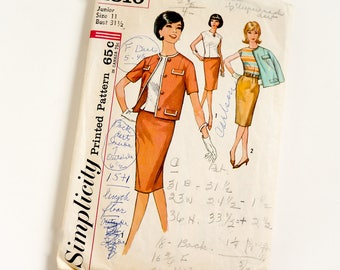 Vintage 1960s Womens Junior Size 11 Skirt Blouse and Jacket Simplicity Sewing Pattern 4810 Complete / bust 31.5 waist 24.5
