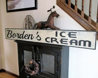 "Made to Order - Hand Painted Vintage Inspired Reproduction ""Borden's Ice Cream"" Trade Sign"