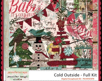 Instant Download - Cold Outside - Full Digital Winter Christmas Themed Scrapbook Kit