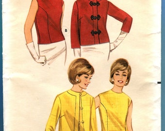 Butterick 3218 Jacket Overblouse Vintage Sewing Pattern Mod Blouse Misses Size 12  Bust 32 UNCUT 1960s