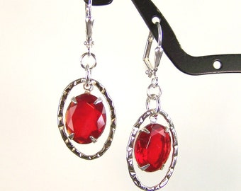 Vintage Glass and Hoop Earrings