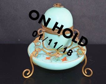 On HOLD NOT for PURCHASE French Opaline Robin Egg Blue Glass Ormolu Mounted Egg Casket