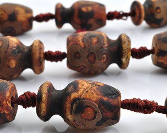 11 pcs of Tibetan Agate Matte Agate eyes vase beads in 12-13  wide x 19-23mm length