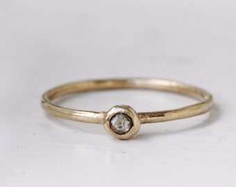 Champagne diamond ring. Rose cut. 18k. Wednesday.