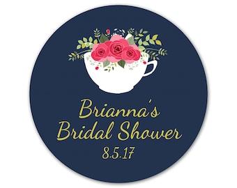 Custom Bridal Shower Favor Stickers - Personalized Shower Labels - Floral Stickers - Tea Bridal Shower Labels - Choose Your Colors - Teacup