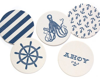 Letterpress Coaster Set   Nautical   Set of 10