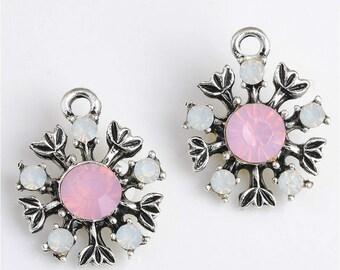 10pcs Vintage Crystal Rhinestone Charm,Snowflake charm,Flower Bezel Charm,Glass Bezel, Bezel Pendant,Add a Charm,Craft Supplies, DIY Finding