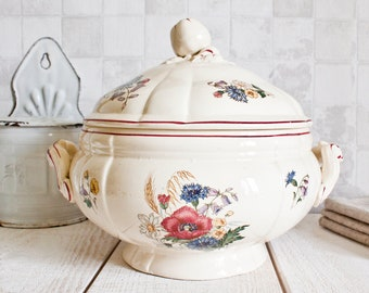 """Antique French DIGOIN SARREGUEMINES """"Agreste"""" Ironstone Bowl Tureen 