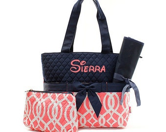 Personalized Coral and Navy Blue Vine Quilted Diaper Bag Custom Embroidered Name Monogrammed Baby Shower Gift Trellis