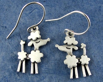Tiny silver poodle earrings