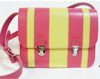Pink and yellow leather satchel