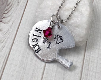 Football Mom Necklace - Mother's Day Gift - Football Necklace - Football Jewelry - Hand Stamped Necklace - Personalized Necklace
