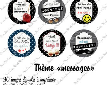 """Digital images for cabochons """"MESSAGES"""" cut out and stick it on your creations (30 images)"""