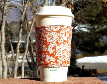 FREE SHIPPING UPGRADE with minimum -  Fabric coffee cozy / cup holder / coffee sleeve - Vintage ivory floral on orange
