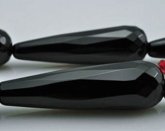10 pcs of Black Onyx faceted teardrop beads in 12x40mm