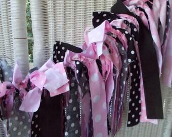 Fabric Garland - Pink, black and white