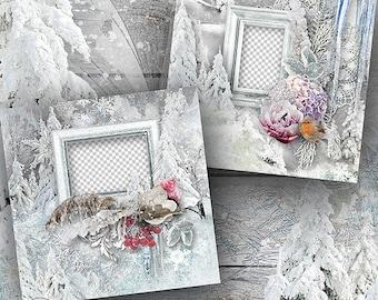 Digital Scrapbook Quick Page, Winter Layout, Premade Scrapbook Layout, Winter Themed Scrapbooking Quick Pages, 12x12, Premade Scrapbook Page