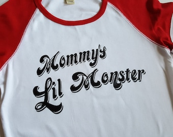 "DIY Harley Quinn Shirt, Suicide Squad Daddy's Lil Monster ""Mommy's Lil Monster"" Black Vinyl Applique for Cosplay Halloween - Iron-on ONLY"