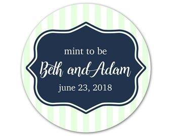 Custom Wedding Stickers - Personalized Favor Labels - Mint to Be Stickers - Striped Labels - Personalized Wedding Labels