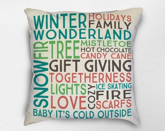 Christmas Pillow, Christmas Decor, Christmas Subway Art Pillow, Christmas Farmhouse Pillow, Winter Pillow, Christmas Farmhouse Decor