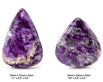 Charoite Gemstone Cabochon - Lot of 2 Pieces - Drop Cabochons - Pair Cabochon - Charoite Lot - Charoite Cabochon