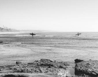 Parting Waves, Surfers, Ocean, Cliffs, Beach, Low Tide, Black and White, Cardiff by the Sea, Encinitas, San Diego, California