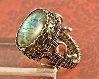 Labradorite Ring, Sterling Silver Ring, Spectrolite Ring, Wire Woven Ring, Size 7 Ring, Gemstone Ring, Blue Green Gold Flash Ring