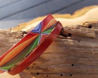 Leather strap red and stained
