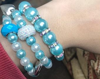 Aqua/Teal Stretch Bracelet Set