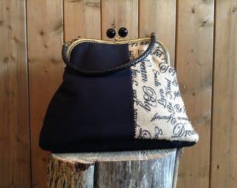 Cotton and printed burlap fabric handbag