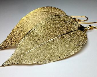 Real leaf earrings Gold boho earrings Gold leaves Long dangle earrings 14K Gold earrings Boho jewelry Statement earrings Gift for women
