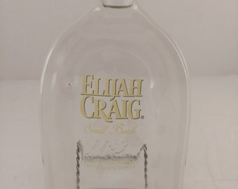 Elijah Craig Kentucky Straight Bourbon Whiskey Repurposed Bottle Melted Cheese Tray Gift for Dad Groom Birthday Wedding Gift Recycled Art